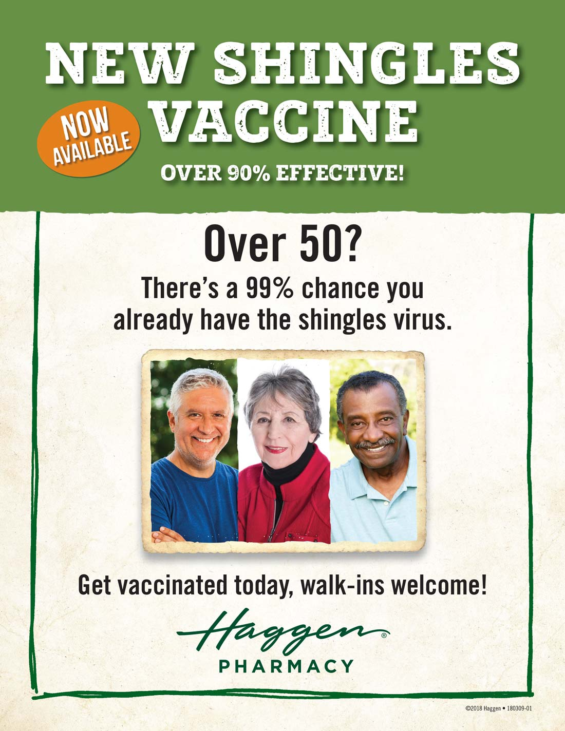 New Shingles Vaccine Now Available, Over 90% Effective. See your Pharmacy for details.